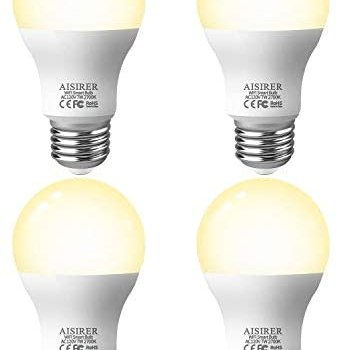 AISIRER Smart Light Bulb LED WiFi Bulbs 7 Watts 650 Lumens Compatible with Amazon Alexa Echo, Google Home Assistant and IFTTT Dimmable Warm Light 2700K, 2.4 Ghz Only No Hub Required, 4 Packs E26 A19