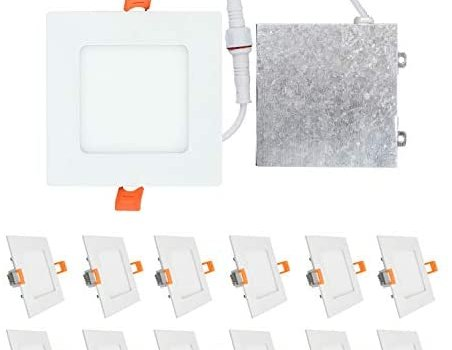 OSTWIN (12 Pack) 9W (45 Watt Repl.) 4 inch IC Rated LED Recessed Low Profile Slim Square Panel Light with Junction Box, Dimmable, 5000K Daylight 630 Lm. No Can Needed ETL & Energy Star Listed