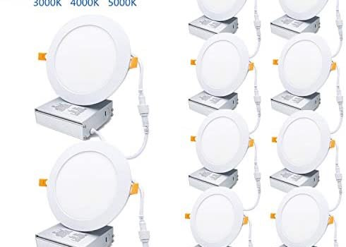 Brillihood 6″ Ultra- Thin LED Recessed Panel Lights with Junction Box, 12W, 900LM, Dimmable, 3000K/4000K/5000K 3CCT Wafer Lights, ETL Certified Round Slim Downlight for Home Office, 10-Pack
