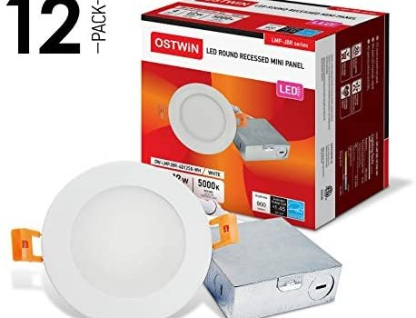 OSTWIN 4 Inch Ultra-Thin LED Recessed Ceiling Light with J-Box, 5000K Daylight, 12W (60 Watt Repl) Dimmable Can-Killer Downlight, IC Rated 900LM High Brightness (12 Pack) ETL and Energy Star Certified