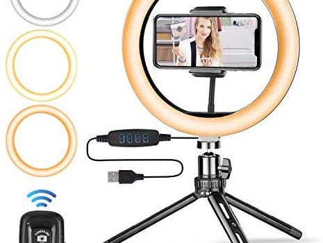 "10"" Ring Light with Upgraded Tripod Stand, Hinotori LED Selfie Ring Light with Universal Phone Holder Bluetooth Remote Control USB Powered for Live Stream Makeup TikTok YouTube"