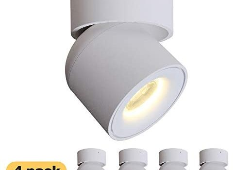 4 Packs Aisilan LED COB Adjustable Ceiling Spots Accent Light Surface Mounted Downlight 7W 3000K Warm White Aluminum Spots Light for Cabinet Gallery Hallway Corridor MSD52W7W3Kx4
