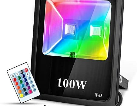 T-SUN RGB Flood Lights 100W Color Changing Flood Lights with Remote Control, Waterproof Dimmable Security Wall Lights Spotlights for Outdoor, Indoor, Garden, Yard, Warehouse, Backyard, Garage(US Plug)