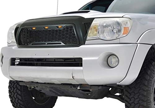 EAG Replacement Upper Grille Front Grill with 3 Amber LED Lights Fit for 2005-2011 Tacoma – Charcoal Gray