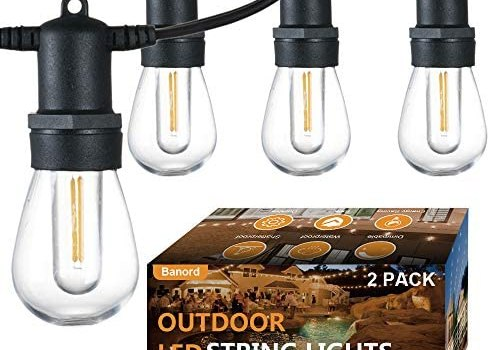 Banord 2 Pack 51FT Outdoor String Lights, Shatterproof LED Patio Lights with Dimmable S14 Bulbs Waterproof UL Listed Heavy-Duty Hanging Lights String for Porch Deck Backyard