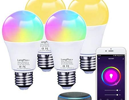LED A19 Light Bulb,E26 Smart Light Bulb Dimmable,RGBCW Color Changing Led WiFi Bulb,LED A19 Smart Light Bulb Dimmable 2700k-6500k,7w 600 Lumens,Work with Alex/Google Home/Echo,No Hub Required, 4-Pack