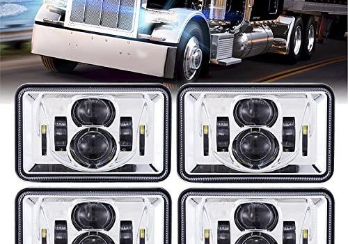 (4 PCS) DOT Approved 60W 4×6 Inch LED Headlights Rectangular Replacement H4651 H4652 H4656 H4666 H6545 for Peterbilt Kenworth Freightinger Ford Probe Oldsmobile Cutlass -Chrome