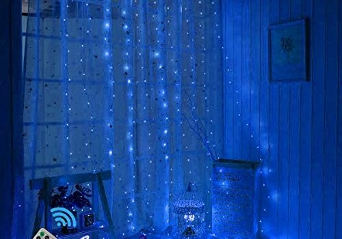 300 LEDs Curtain String Lights,9.8ftx9.8ft USB Powered Copper Wire Fairy Window Lights, Remote Timer Control 8 Modes Twinkle Lights for Kids Bedroom Wedding Wall Decorations -Blue