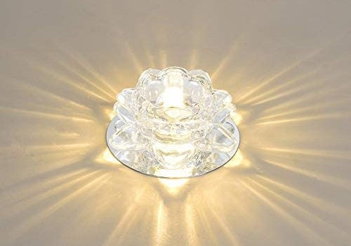 GLBS 5W Creativity Modern Simplicity Recessed Lighting Background Wall Corridor Living Room LED Downlight Crystal Iron Home Commercial Ceiling Panel Light (Color : 5W, Size : Warm Light)