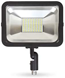 LLT 50W LED Flood Light Outdoor with Arm – 3750lm 5000K Daylight SMD – Compact LED Security Floodlight for Landscape – Waterproof- Black Finish – Aluminum and Tempered Glass