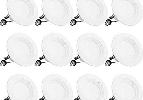 BBounder LED Recessed Lighting 4 Inch 12Pack, Dimmable, Damp Rated, LED Downlight with Baffle Trim, 9W=60W 650LM 4000K Cool White Can Lights, Simple Retrofit Installation – UL + Energy Star