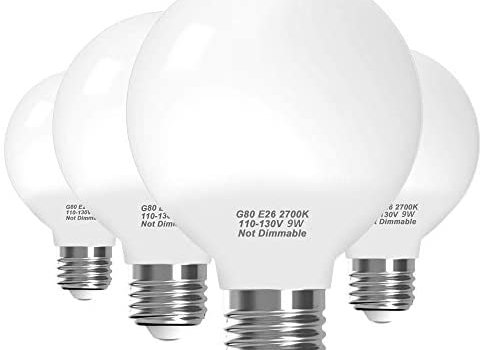 KINDEEP G25 Led Bulb, E26 Base 9W (72W Equivalent) 2700K Soft White 650LM Non-Dimmabl for Bathrooms Makeup Vanity Mirror Lamp, Globe Led Light Bulbs 4 Packs