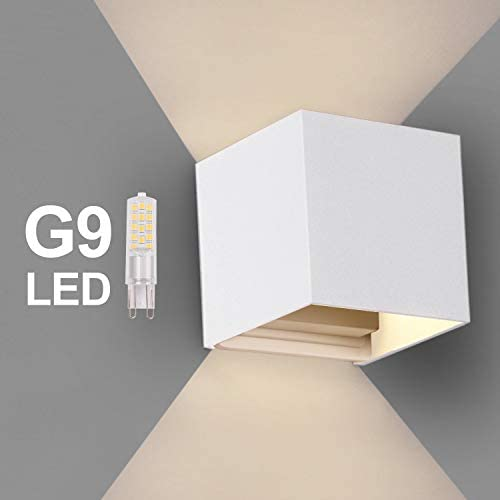 OOWOLF IP65 G9 Replaceable Bulb LED Wall Sconce Light Up and Down Square Wall Lamp Modern Aluminum 3000K Warm White for Outdoor Entrance Living Room Bedroom Hallway Conservatory Home Room Decor