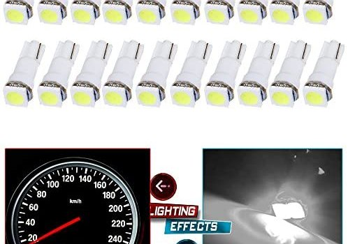 cciyu 20 Pack T5 58 70 73 74 Dashboard Gauge 1-SMD 5050 LED Wedge Lamp Bulbs Lights Replacement fit for Dashboard instrument Panel Light Bulbs LED Lamps (white)