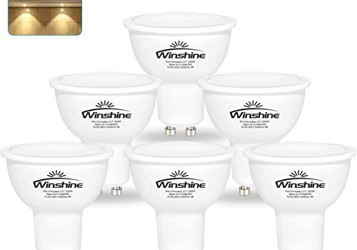 Winshine 6W GU10 LED Light Bulbs, 50W Equivalent 3000K Warm White LED Light Bulb, Non Dimmable Replacement GU10 Twist Lock Base 120V 550LM 120 Degree. Pack of 6
