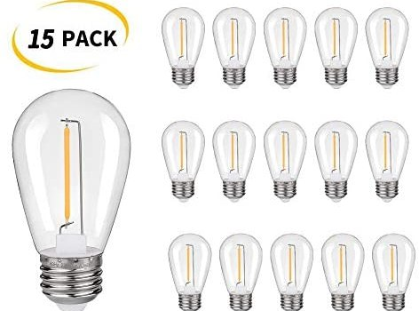 Plastic Shatterproof & Waterproof S14 Replacement LED Light Bulbs –1W Equivalent to 10W, White Warm 2200K Outdoor String Lights Vintage LED Filament Bulb, E26 Base Edison LED Light Bulbs (15 Pack)