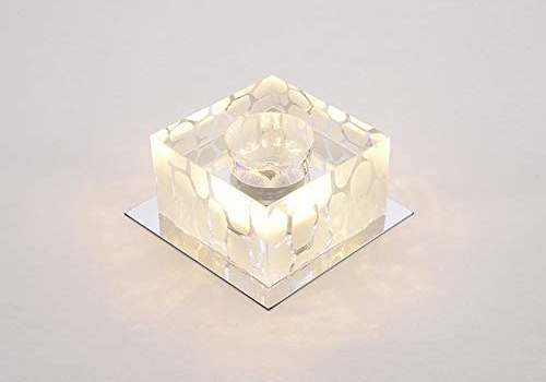 GLBS 5W Modern Creativity Square LED Downlight Living Room Corridor Entrance Balcony Ceiling Panel Light Crystal Glass Home Business Recessed Lighting (Color : Warm Light, Size : 5W)