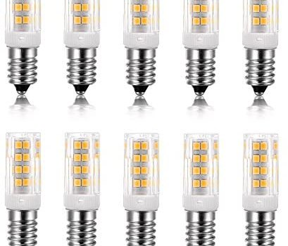 Vlio E14 5W LED Light Bulb 10 Pack, Cool White 6000K, 40W Incandescent Bulb Equivalent, 400LM 52 LED 2835-SMD Light, Not Dimmable, AC110V