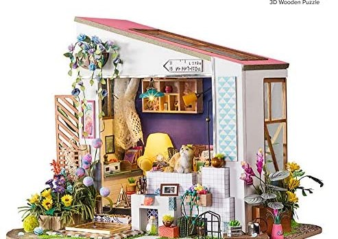 Hands Craft DIY 3D Wooden Miniature Dollhouse Build Your Own Crafting Kit with Real LED Lights, Educational STEM Hobby Project for Kids (14) and Adults … (Lily's Porch)
