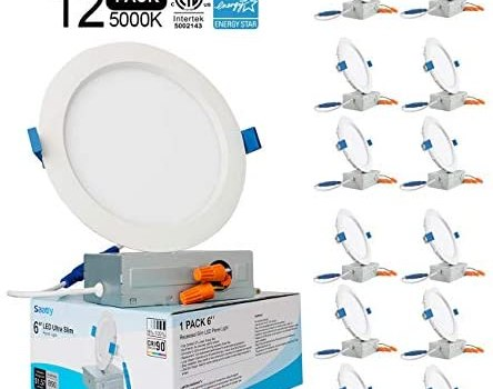 SAATLY 12 Pack LED Recessed Lighting 6 inch,Ultra-Thin Recessed Ceiling Light with Junction Box 5000K Daylight CRI90+,IC Rated 1000 Lumens 13W 100W Eqv. Dimmable,Can-Killer Downlight ETL & Energy Star