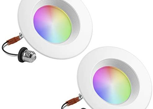 """Geeni Prisma Plus 6"""" Smart Wi-Fi LED Dimmable Multicolor Downlight (2700K-5000K) – 2-Pack – 80-Watt Equivalent – No Hub Required – Works with Amazon Alexa, Google Assistant, Microsoft Cortana"""