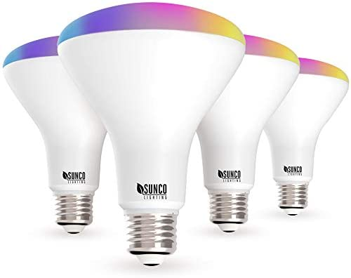 Sunco Lighting 4 Pack WiFi LED Smart Bulb, BR30, 8W, Color Changing (RGB & CCT), Dimmable, 650 LM, Compatible with Amazon Alexa & Google Assistant – No Hub Required