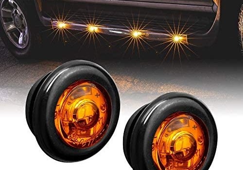 2pc 3/4″ Round Amber Trailer LED Marker Light [DOT FMVSS 108] [SAE P2PC] [Semi-Spherical Output] [IP67 Waterproof] [Bullet Style] Round Clearance Marker Lights for Trailer Truck