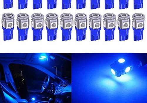 Qoope – Pack of 20 – Bright Blue 194 T10 168 2825 W5W Car Interior Replacement LED Light Bulb – 5th Generation 5050 Chipsets 5SMD Lighting Source for 12V License Plate Map Dome Lights Lamp (Blue)