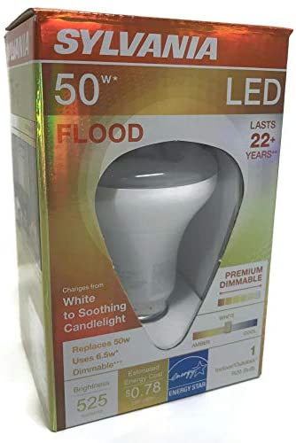 Sylvania 79618 R20 Efficient 6.5W Dimmable LED Indoor/Outdoor Flood Light Bulb, Dims from White To Soothing Candlelight, Medium Base (E26), 3000K, 525 Lumens