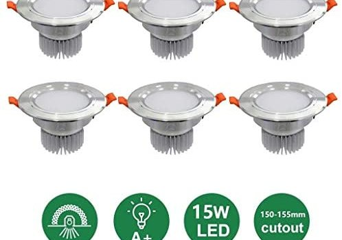 JJSFT 15w Led Ceiling Recessed Lights Spotlights Downlights 4000k Neutral White Aluminum for Bathroom Corridor Balcony Kitchen Hole Size 150-155mm led recessed Light (Color : Silver, Size : 6 Pack)