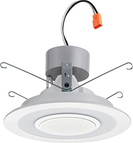Lithonia Lighting 3000K 6SL RD 07LM 4000K 90CRI MW 6-Inch Dimmable LED Module with Integrated Wireless Speaker, 730 Lumens, 120 Volts, 13 Watts, Wet Listed, Matte White