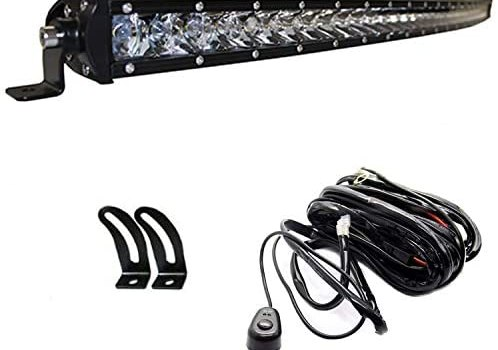AngelMa CREE Series 37″ Inch 180w Curved LED Bar Spot Flood Combo Light Bar 22000 Lumens Off Road for GMC RAM UTV ATV Truck Ford 4WD RZR Lamp + Switch Wiring Harness