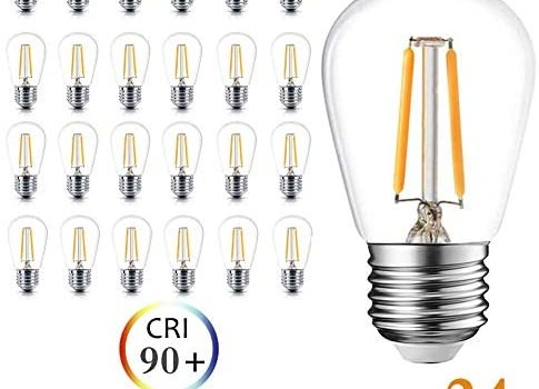 Newpow S14 Led Light Bulbs, 24 Pack Dimmable Edison Glass Bulbs for Waterproof Outdoor String Lights, 1.5W Replacement Incandescent Bulb (11w – 30w), Warm Color 2200k – UL Listed