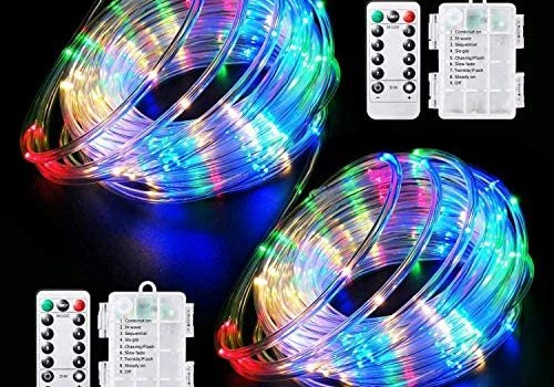 LED Rope Lights Battery Operated String Lights-40Ft 120 LEDs 8 Modes Outdoor Waterproof Fairy Lights Dimmable/Timer with Remote for Garden Camping Party Decoration (Multi-Color) (2 Pack)