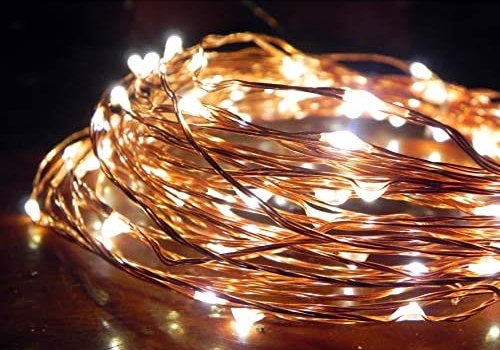Norsis Fairy Lights – Flexible Copper Wire Starry String Lights – 100 Miniature LED Lights, Extra Long Wire – Warm White Light – Indoor/Outdoor – Interior Decor, Halloween, Wedding, and Christmas