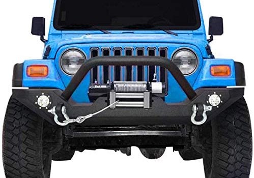 Rock Crawler Front Bumper Compatible with 87-06 Jeep Wrangler YJ and TJ with Winch Plate, LED Lights Heavy Duty (Textured Black)