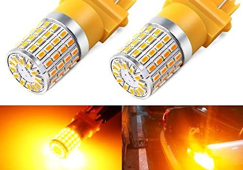 Phinlion Super Bright 3014 72-SMD 3056 3156 3057 3157 4057 4157 Amber Yellow LED Light Bulbs for Turn Signal Blinker Lights Lamps