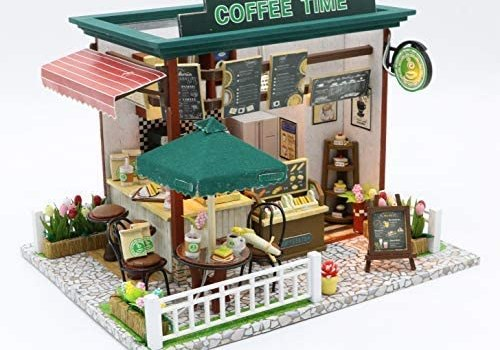 DollLabs DIY Miniature Dollhouse Kit, Coffee Shop Dollhouse Kit with Led Lights and Furniture for Gift Set…