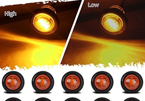 TCTAuto 3/4″ Amber Round LED Marker Stop Turn Signal Light Rubber Grommet Miniature Type with 3 Wire Dual Function High & Low, Pack of 10