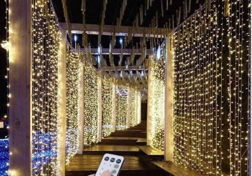 SZXKT 300 LED 9.8FT Connectable Curtain Lights Fairy String Twinkle Lights with 8 Modes for Christmas Wedding Party Outdoor Indoor Wall Decorations, Warm White