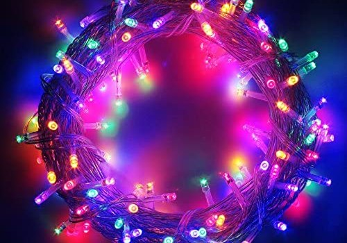 100-1000 LED String Fairy Lights on Clear Cable with 8 Light Effects, Low Voltage Transformer Included, Ideal for Christmas, Xmas, Party,Wedding (1000 LEDs, Multicolor)