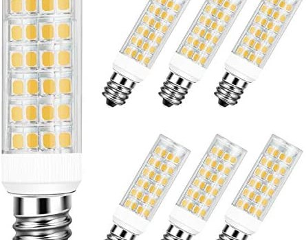 DiCUNO E12 5W LED Bulb, 50W Halogen Equivalent Warm White 3000K, T3/T4 Candelabra Base Non-dimmable 550LM Light Bulb for Ceiling Fan, Chandelier 6-Pack