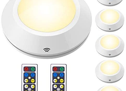 HONWELL Puck Lights with Remote, Wireless Battery Powered Closet Light, Tap Light, Push Button Light, Under LED Cabinet Lighting, Stick Lights for Shelf Counter Kitchen (6Pack)