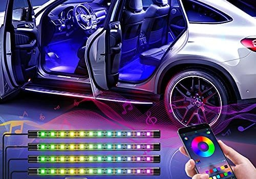 WILLED Interior Car Lights, Multi DIY Color LED Strip Light Kits with Bluetooth App Controlled, 5V USB Port and Music Sync, LED Car Interior Lights with Sound Active Function