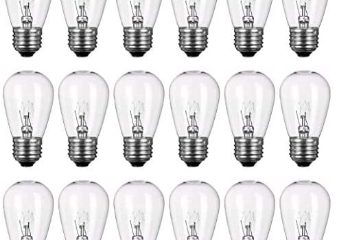 Newhouse Lighting S14INC18 Outdoor Weatherproof S14 Incandescent Replacement String Light Bulbs | Standard Base | 18-Pack, Clear, 18 Count