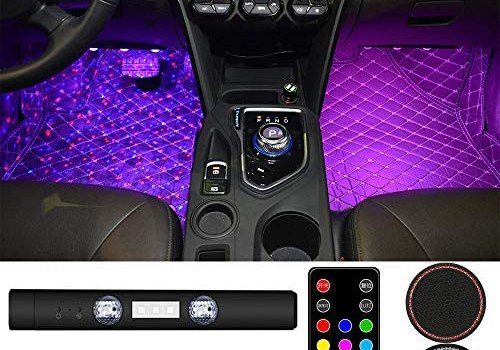 RGB LED Starry Car Interior Lights – Ambient Atmosphere Light USB Rechargeable Sound Remote Control Neon Accent Lighting Kit Roof Under Dash Star Decoration Light for Car Party