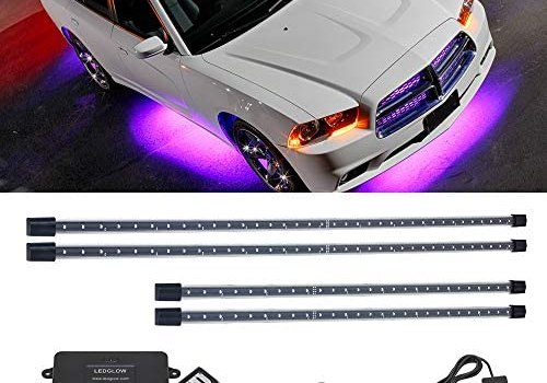 LEDGlow 4pc Purple LED Underbody Underglow Accent Lighting Kit for Cars – 12 Unique Patterns – Music Mode – Water Resistant Tubes – Includes Control Box & Wireless Remote