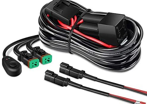 Nilight – 10016W 16AWG DT Connector Wiring Harness Kit LED Light Bar 12V On Off Switch Power Relay Blade Fuse for Off Road Lights LED Work Light-2 Leads,2 Years Warranty