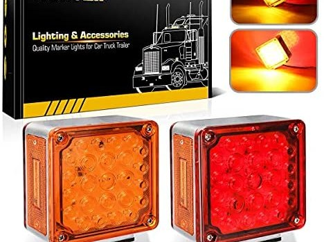 Partsam 2Pcs Square Dual Double Face Fender Stop Turn Signal Tail 52 LED Amber/Red, Truck Trailer Double Face Led Pedestal Lights Waterproof, Dual-face lights with Three Studs Waterproof