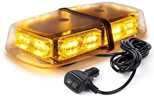 Xprite Amber Yellow 36 LED Rooftop Emergency Strobe Lights Mini Bar 16 Flashing Modes Warning Beacon Light w/Magnetic Base for Law Enforcement Hazard Vehicles Trucks Snow Plow Construction Cars